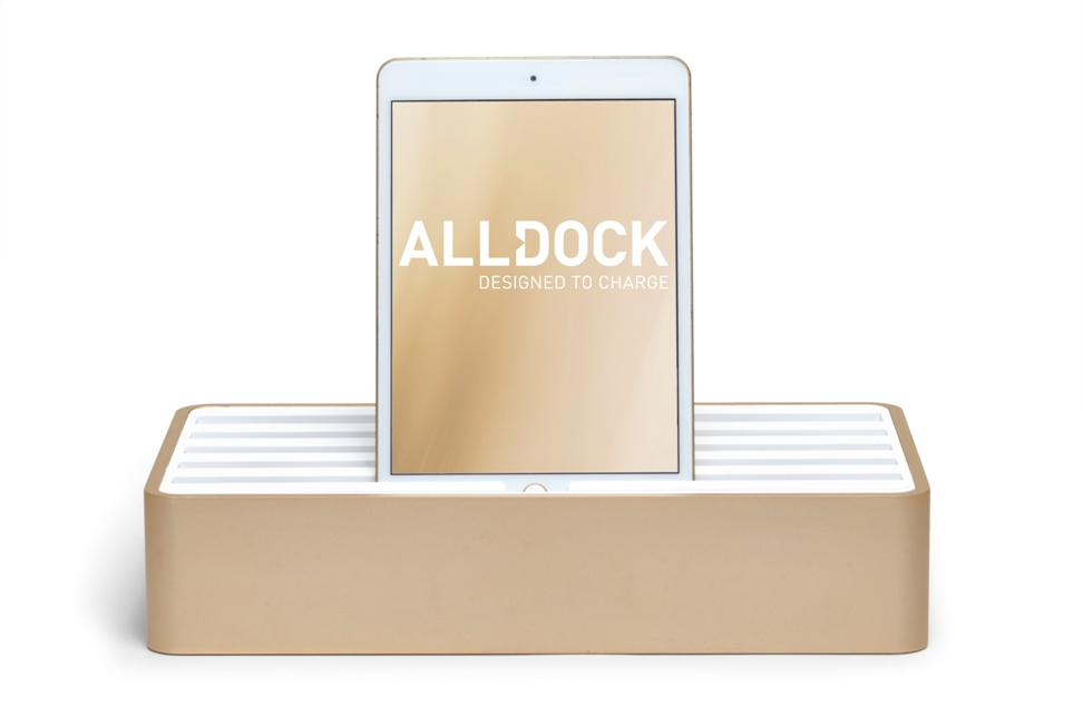 ALLDOCK aluminium gold with white