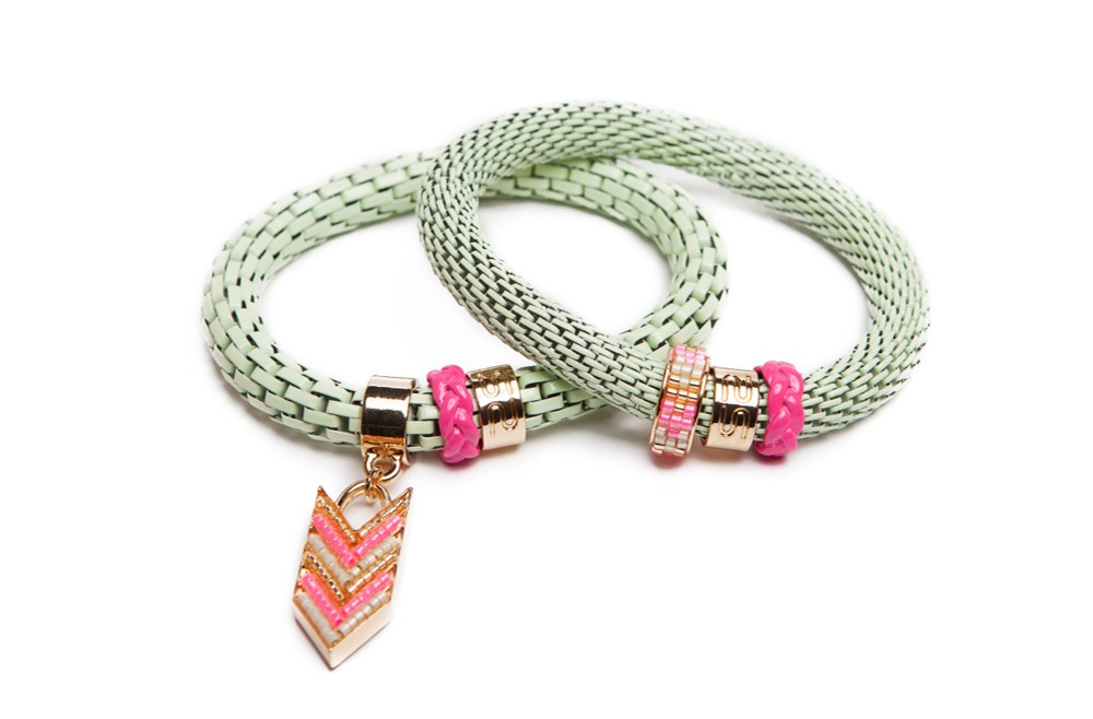 The Snake Strass Light Green & Arrow | Silis Bracelet