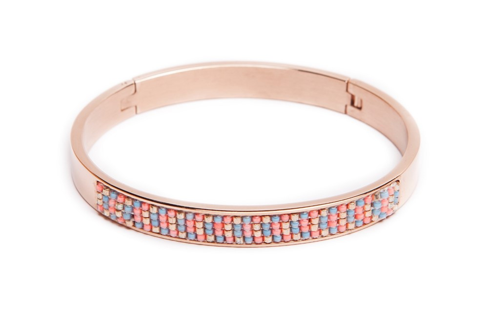 The Bangle Pink Gold & Miyuki | Silis Bracelet