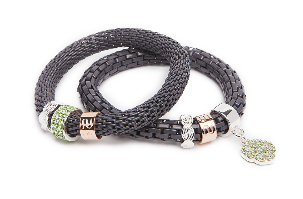 The Snake Strass Hard Rock Anthracite & Flower | Silis Bracelet