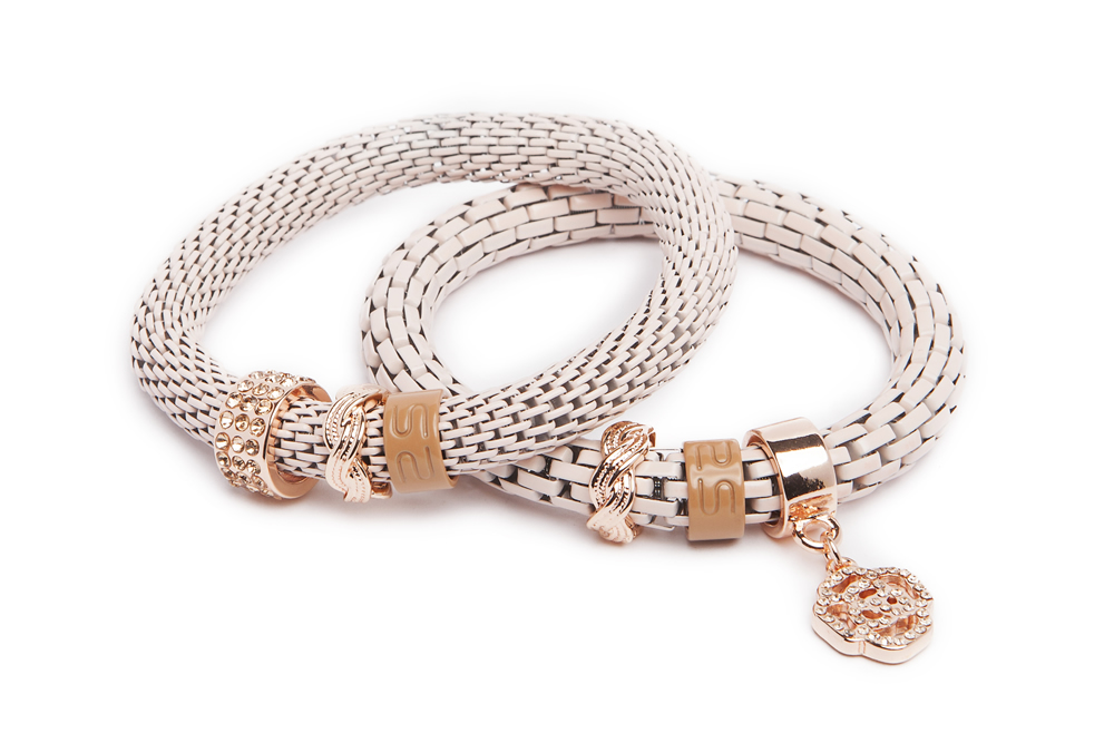 The Snake Strass Bracelet | Powder Pink & Strass Flower