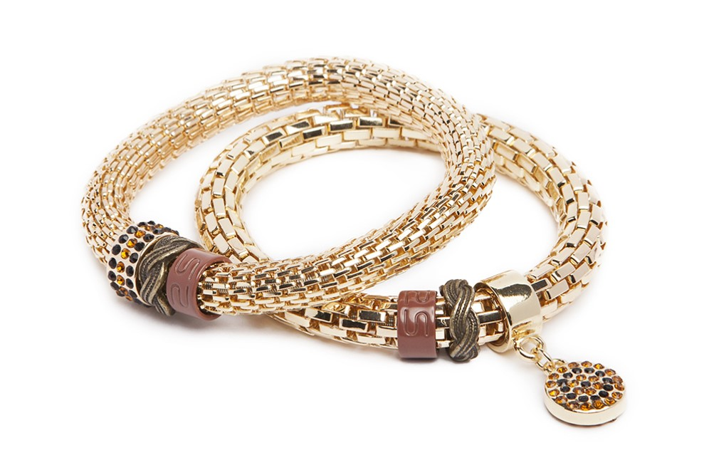 The Snake Strass Bracelet | Gold Out & Strass Round