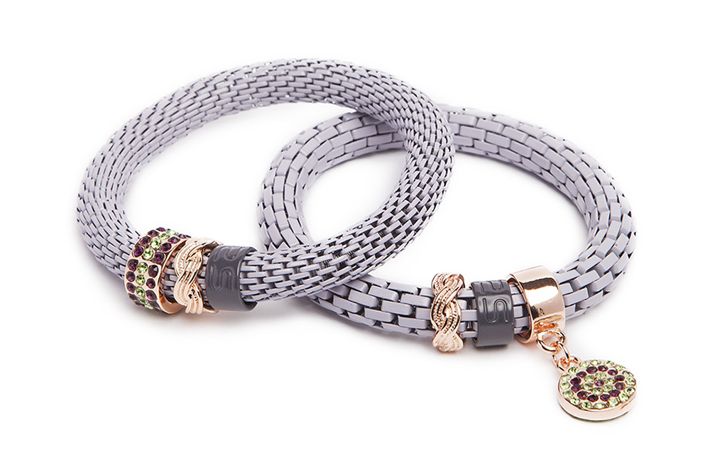 The Snake Strass Bracelet | Soft Lila & Strass Round