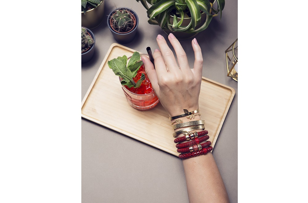 FIRE ME UP RED & LEAF CHARM | SILIS BRACELET Ø8MM