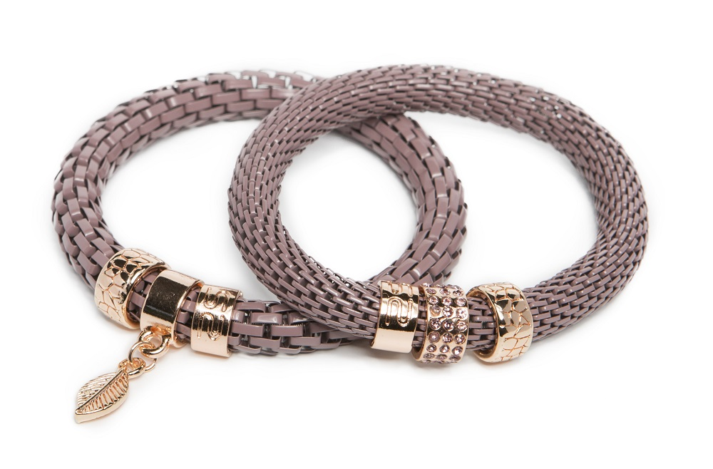 The Snake Strass Taupe & Leaf Charm | Silis Bracelet Ø8mm