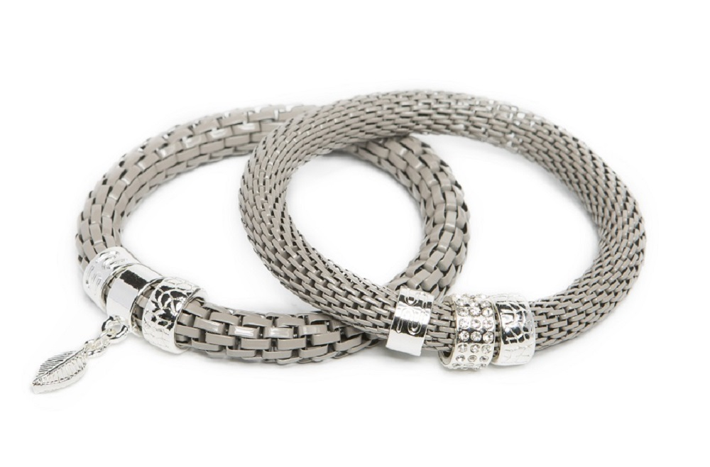 The Snake Strass Snowy Grey & Leaf Charm | Silis Bracelet Ø8mm