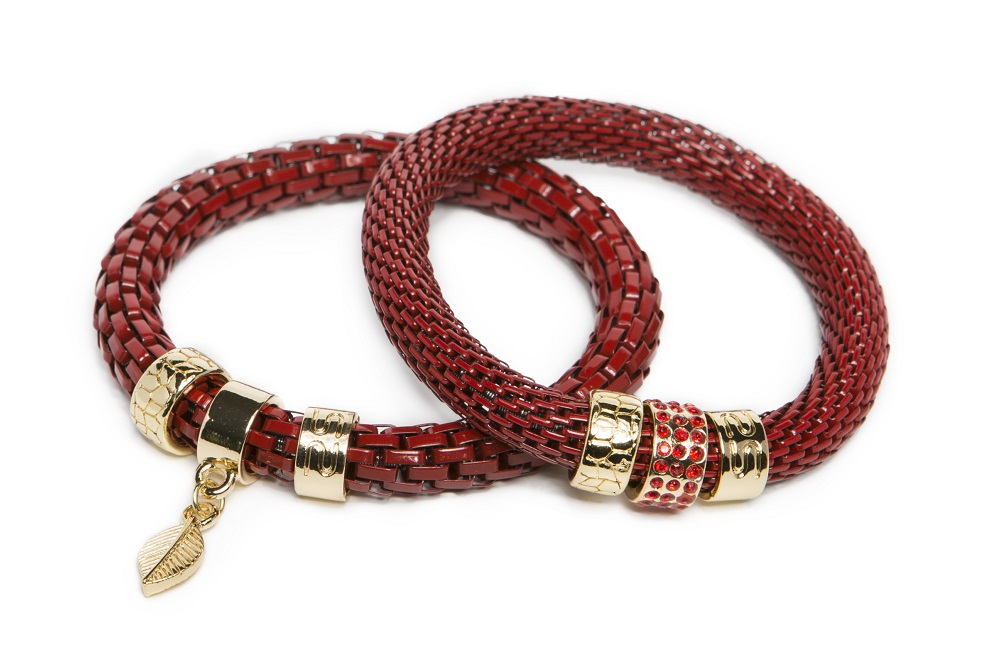 The Snake Strass Fire Me Up Red & Leaf Charm | Silis Bracelet Ø8mm