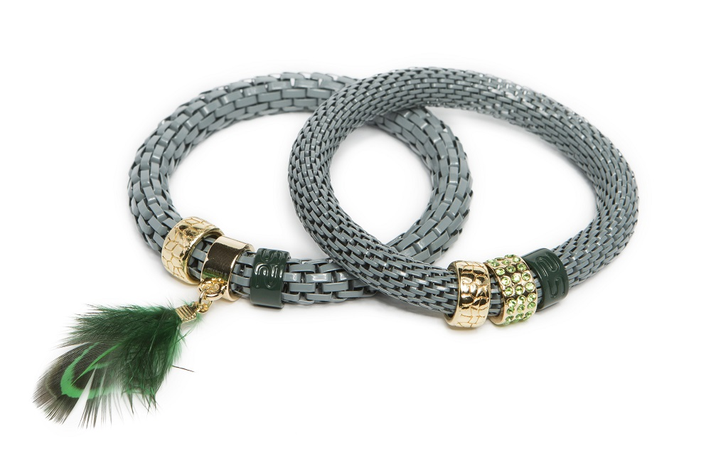 The Snake Strass Gorgeous Green & Feather | Silis Bracelet Ø8mm