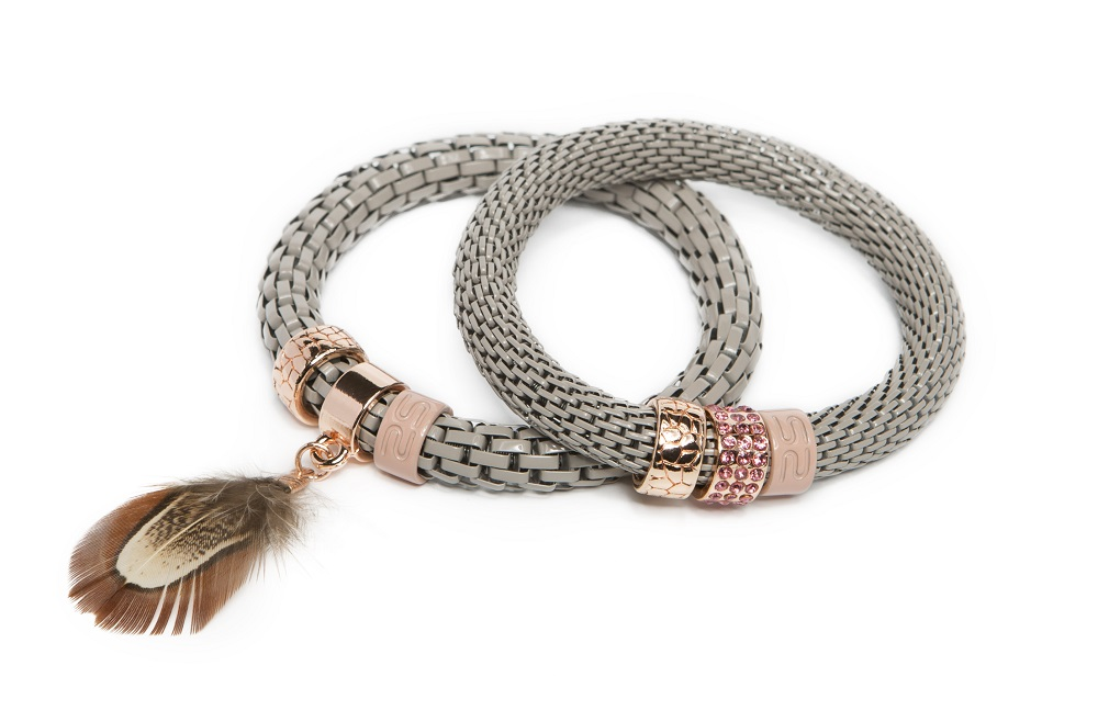 The Snake Strass Nudes Touch & Feather | Silis Bracelet Ø8mm