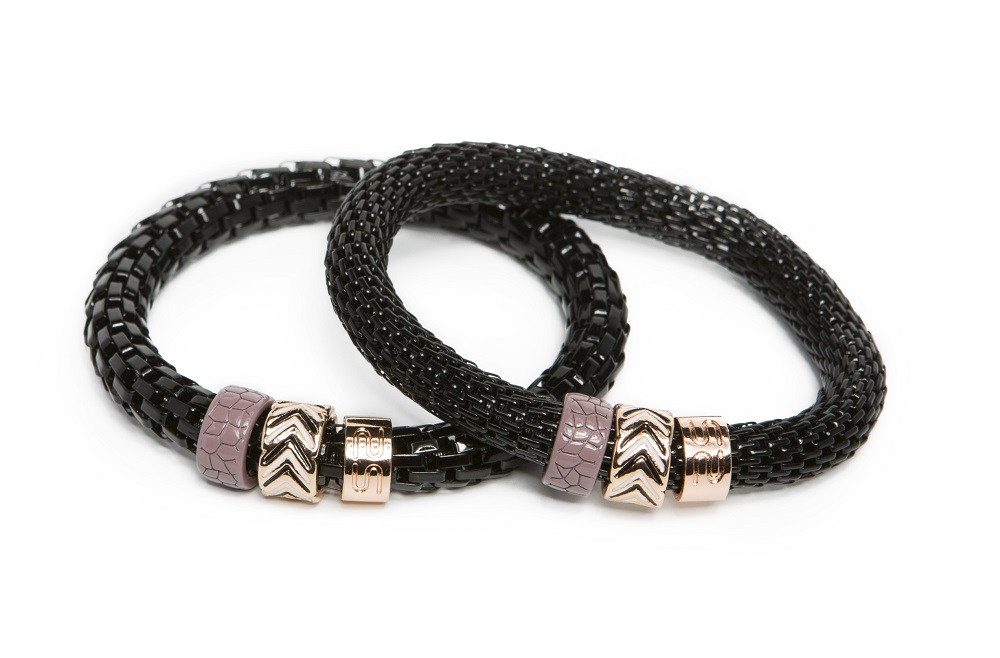 The Snake Strass All Black & Enamel | Silis Bracelet Ø8mm