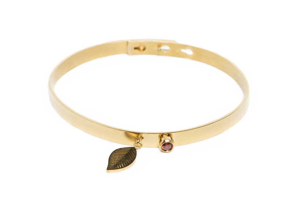 The Bangle Charm Gold Out & Leaf | Silis Bracelet