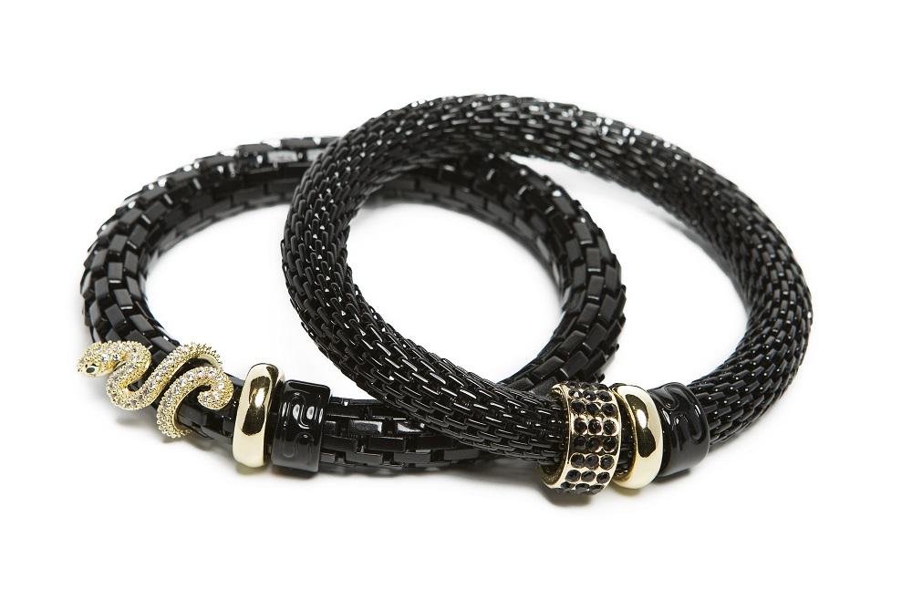 The Snake Strass Black Snake Charm | Silis Bracelet