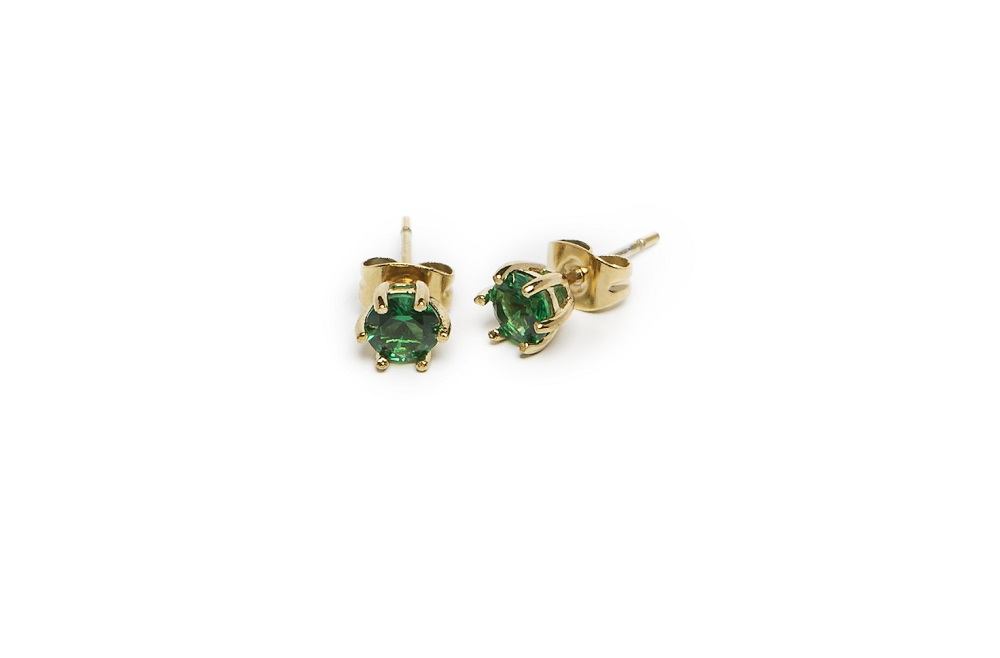 The Earrings Strass Gold Out & Green Strass | Silis Stud Earrings