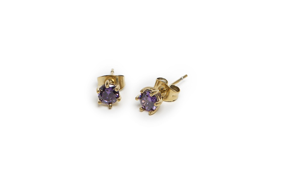 The Earrings Strass Rosé All Day & Purple Strass | Silis Stud Earrings