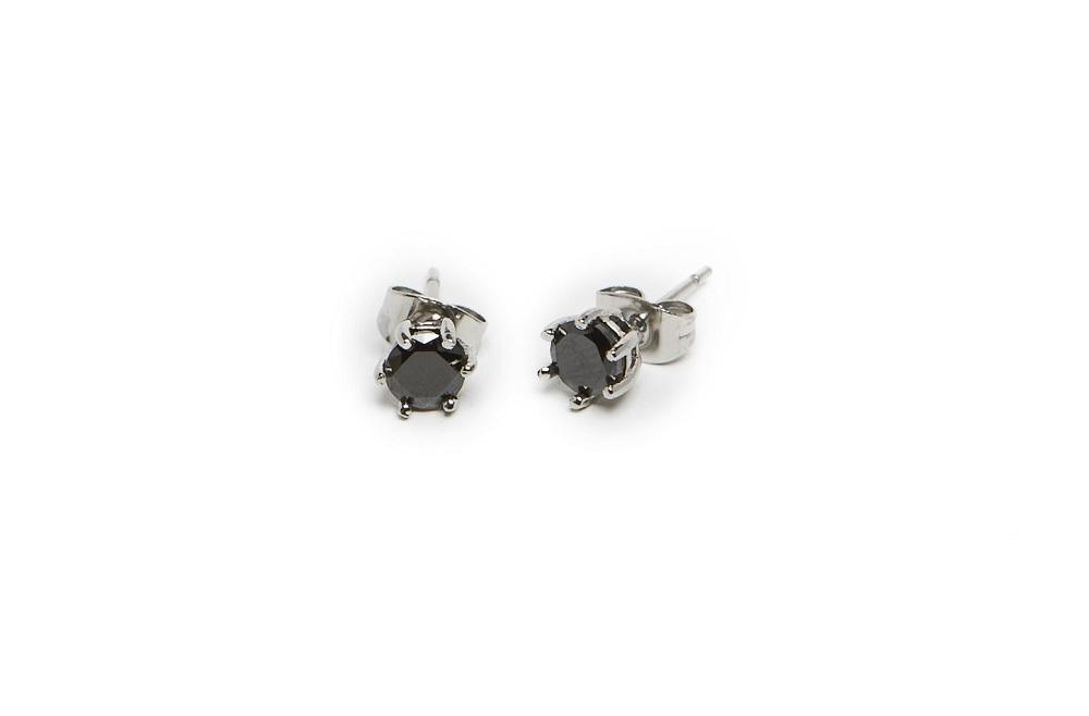 The Earrings Strass So Silver & Black Strass | Silis Stud Earrings