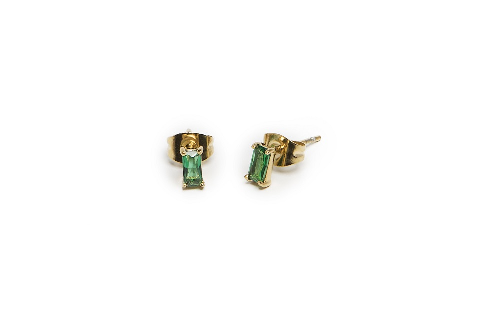 The Earrings Baguette Gold Out & Green | Silis Stud Earrings