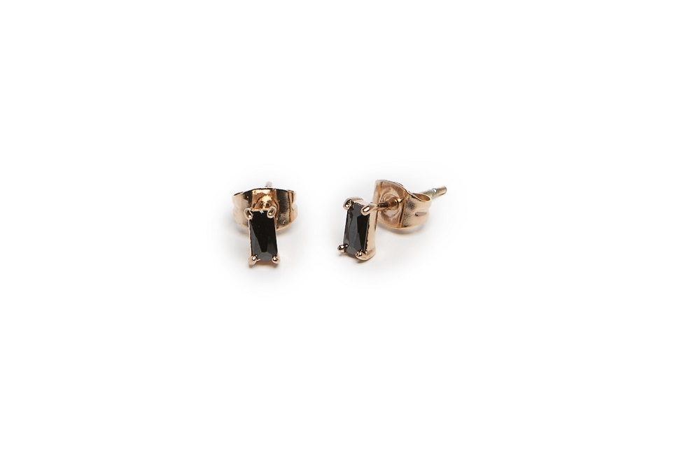 The Earrings Baguette Rosé All Day & Black | Silis Stud Earrings