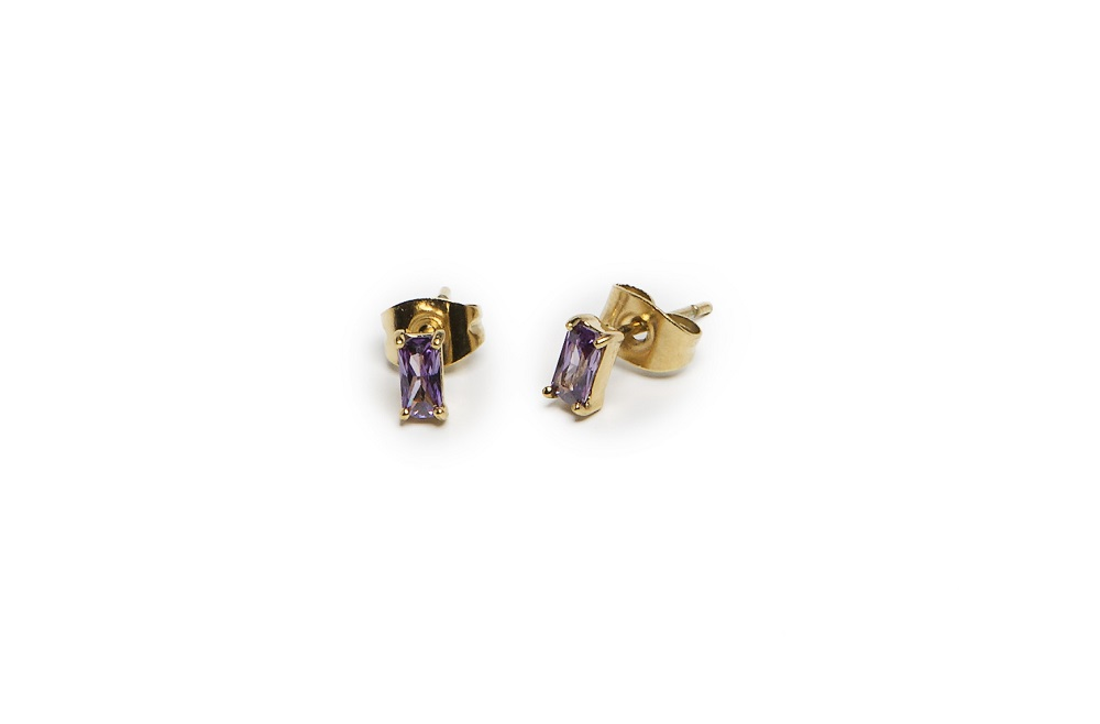 The Earrings Baguette Gold Out & Purple | Silis Stud Earrings