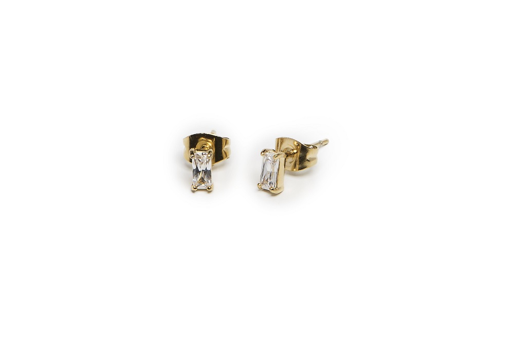 The Earrings Baguette Gold Out & White | Silis Stud Earrings