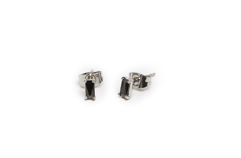 The Earrings Baguette So Silver & Black | Silis Stud Earrings