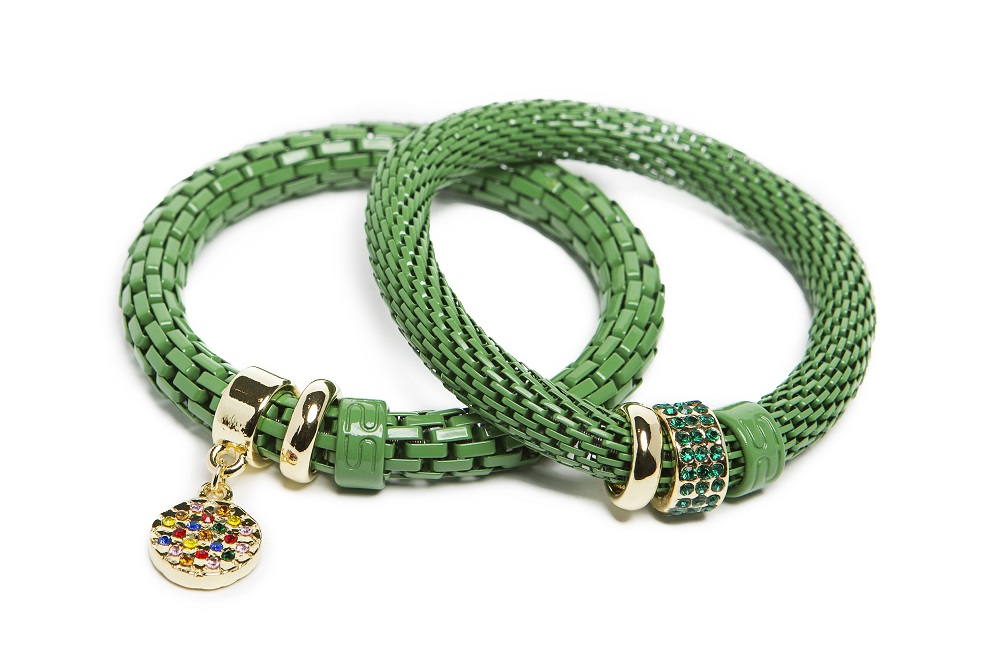 The Snake Strass Medium Green & Rainbow Strass Charm | Silis Bracelet