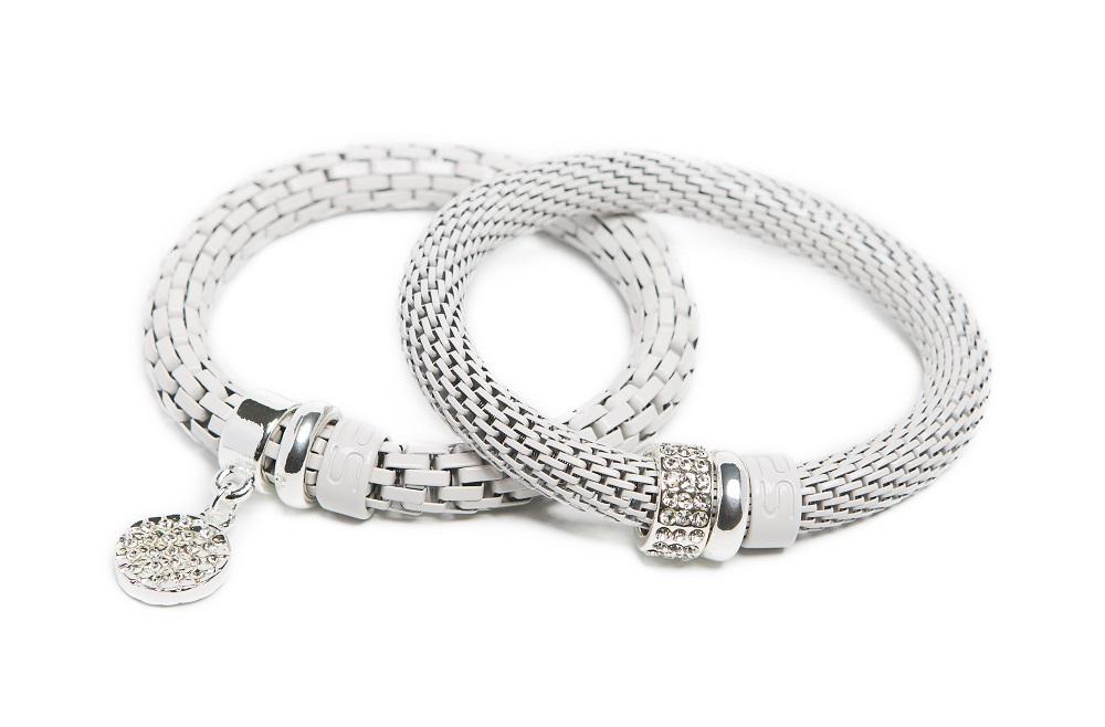 The Snake Strass White Sand & White Strass Charm | Silis Bracelet
