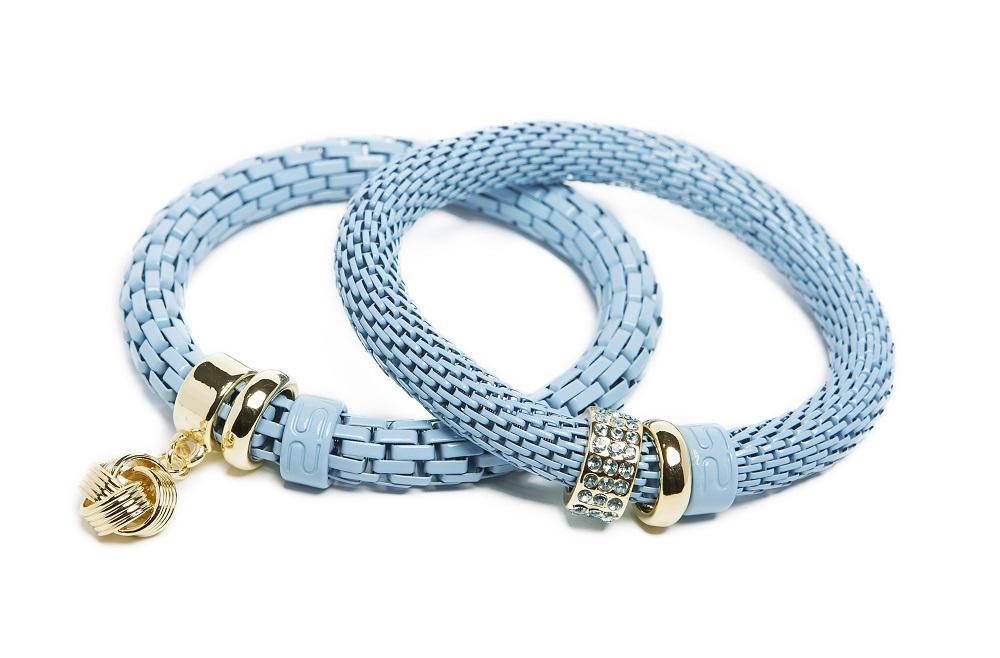 The Snake Strass Sky Blue & Knot Charm | Silis Bracelet