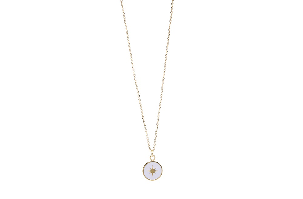 The Necklace Star Color Gold Out & Light Grey | Silis Charm Necklace