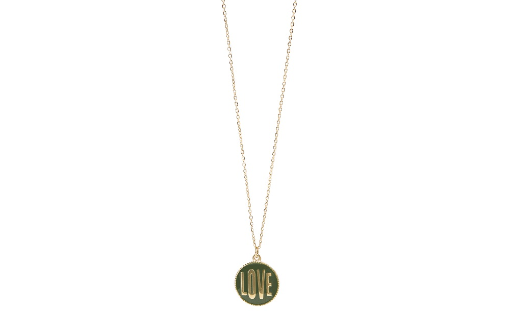 The Necklace Love Color Gold Out & Green | Silis Charm Necklace