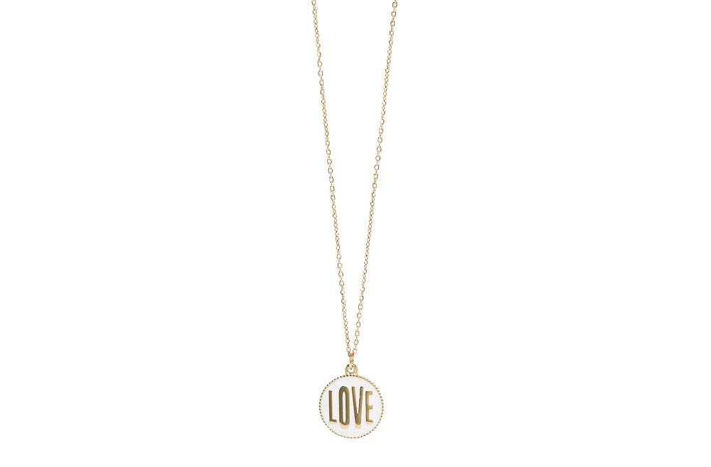 The Necklace Love Color Gold Out & White | Silis Charm Necklace