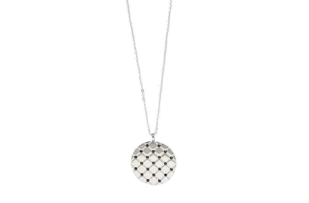 The Necklace Strass Grill So Silver Steel & Black Strass | Silis Charm Necklace