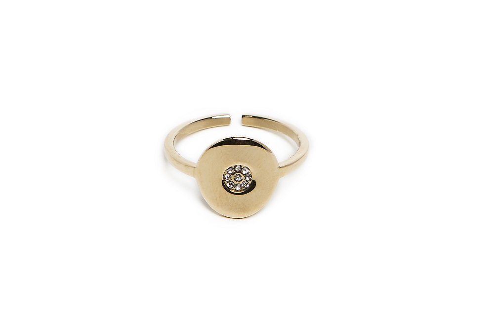 The Ring Round Strass Gold Out & White | Silis Statement Ring