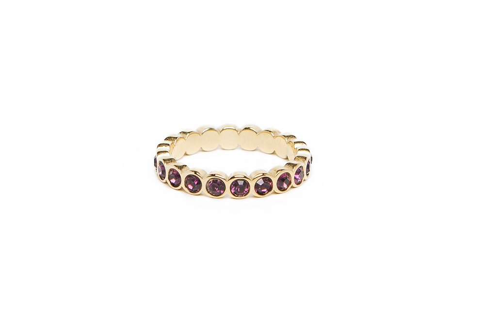 The Ring Strass Gold & Purple Strass | Silis Multi-Stone Ring