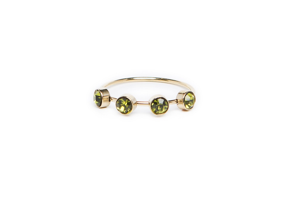 The Ring Small Strass Gold & Green Strass | Silis Multi-Stone Ring