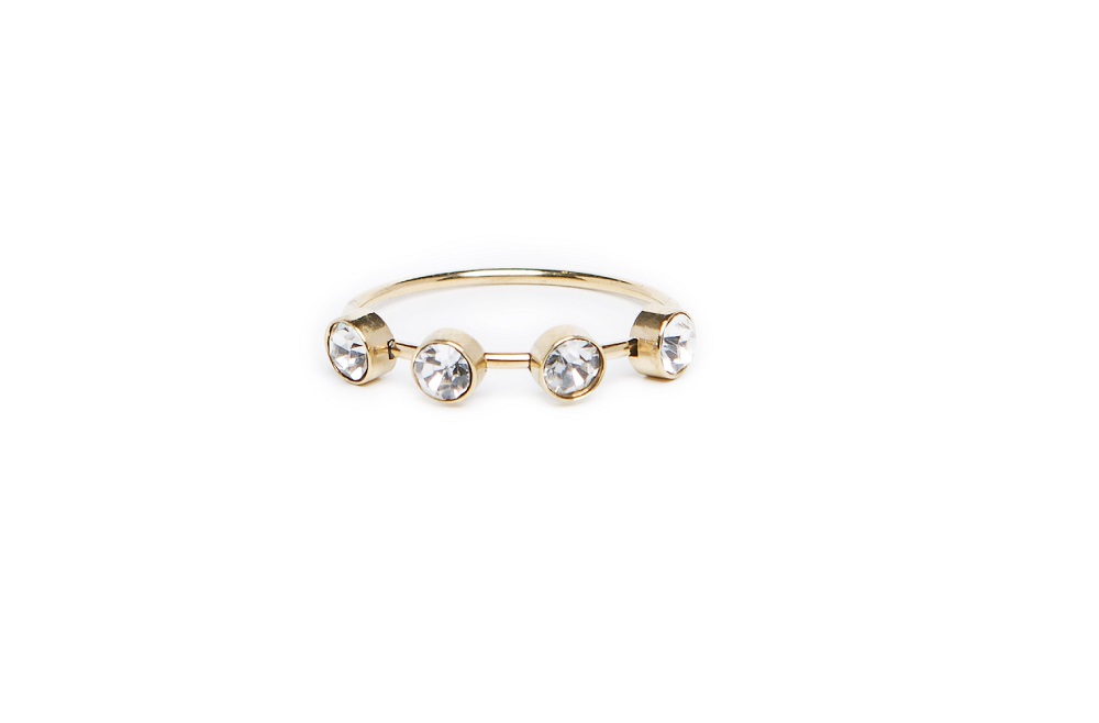 The Ring Small Strass Gold & White Strass | Silis Multi-Stone Ring