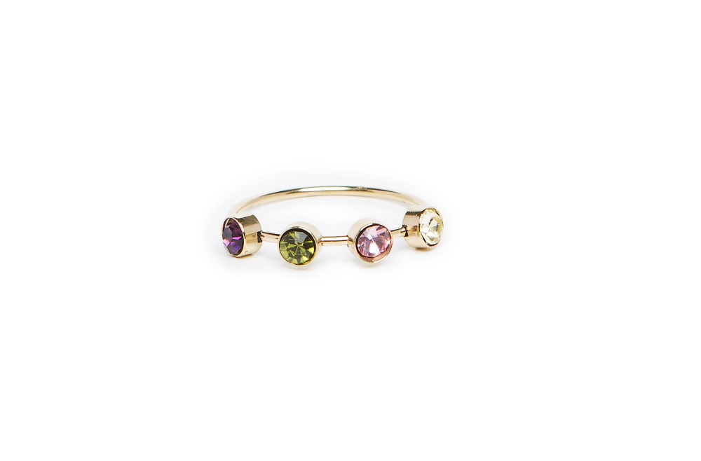 The Ring Small Strass Gold & Purple, Green & White Strass | Silis Multi-Stone Ring