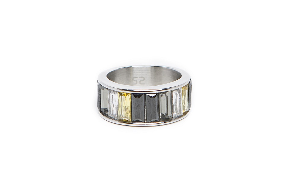 The Ring Baguette Silver & Grey Tones |  Silis Multi-Stone Ring