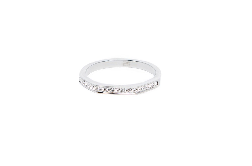 The Ring Square Silver & White Strass | Silis Stackable Ring