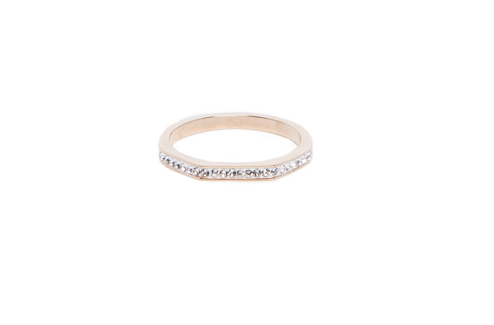 The Ring Square Gold & White Strass | Silis Stackable Ring