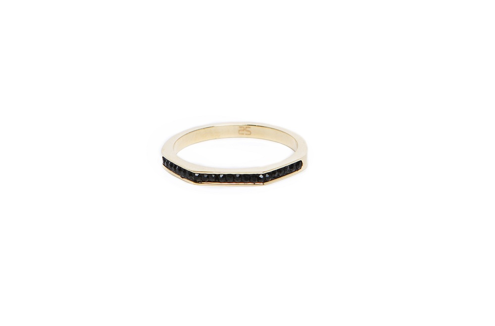 The Ring Square Gold & Black Strass | Silis Stackable Ring