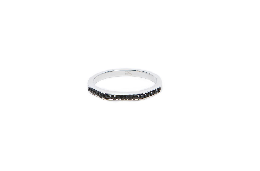 The Ring Square Silver & Black Strass | Silis Stackable Ring