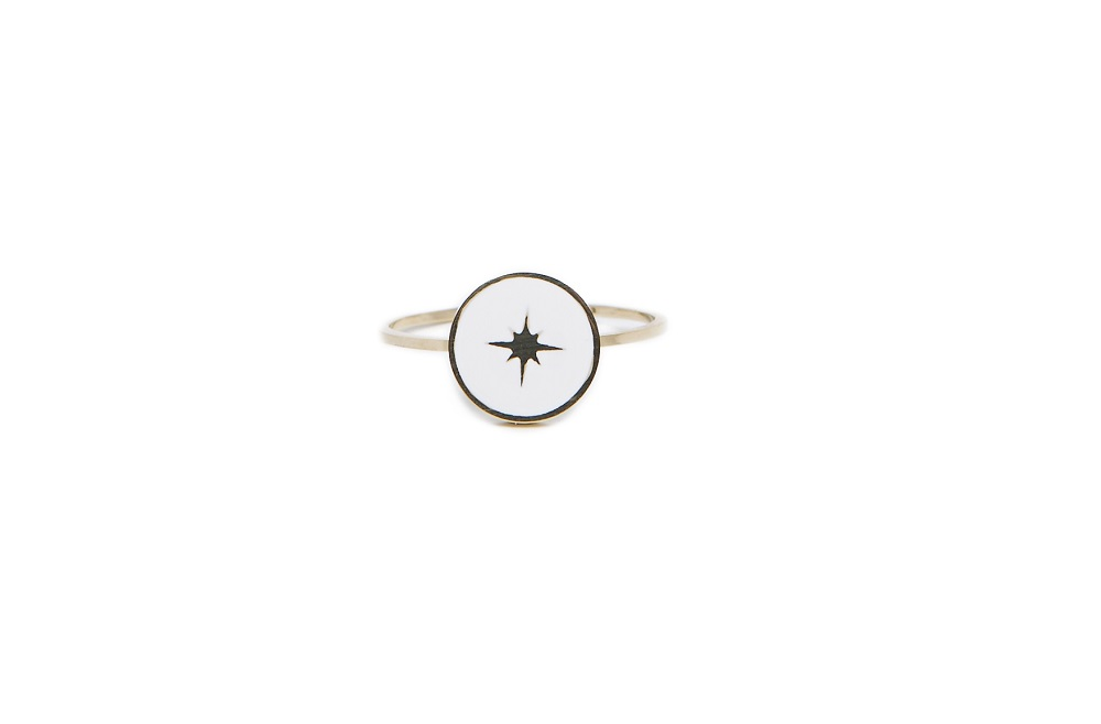 The Ring Star Color Gold & White | Silis Statement Ring