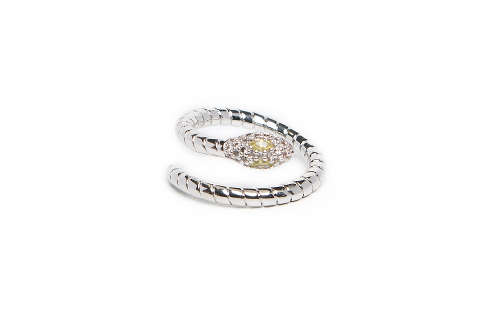 The Ring Snake So Silver Rodium & Yellow Crystal | Silis Statement Ring