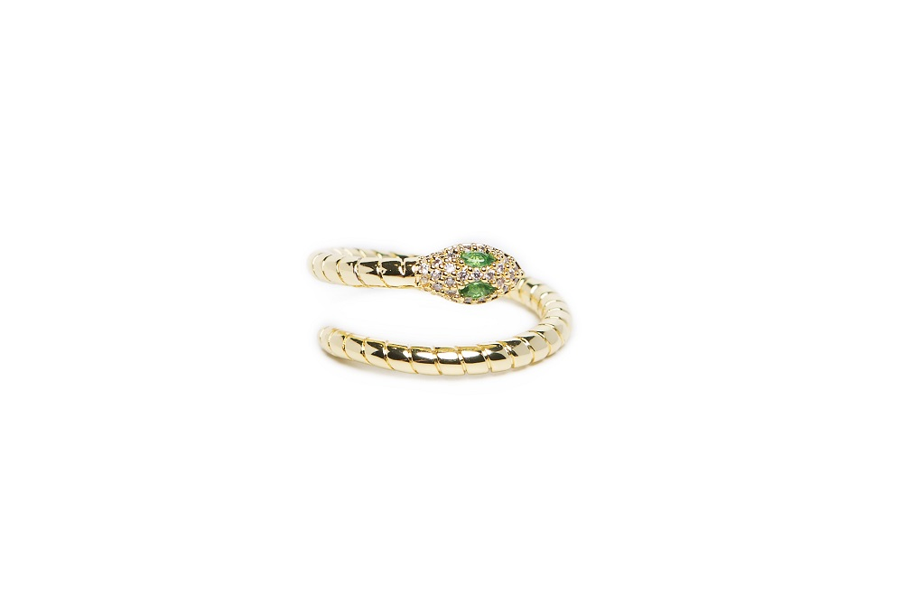 The Ring Snake Gold Out & Green Crystal | Silis Statement Ring