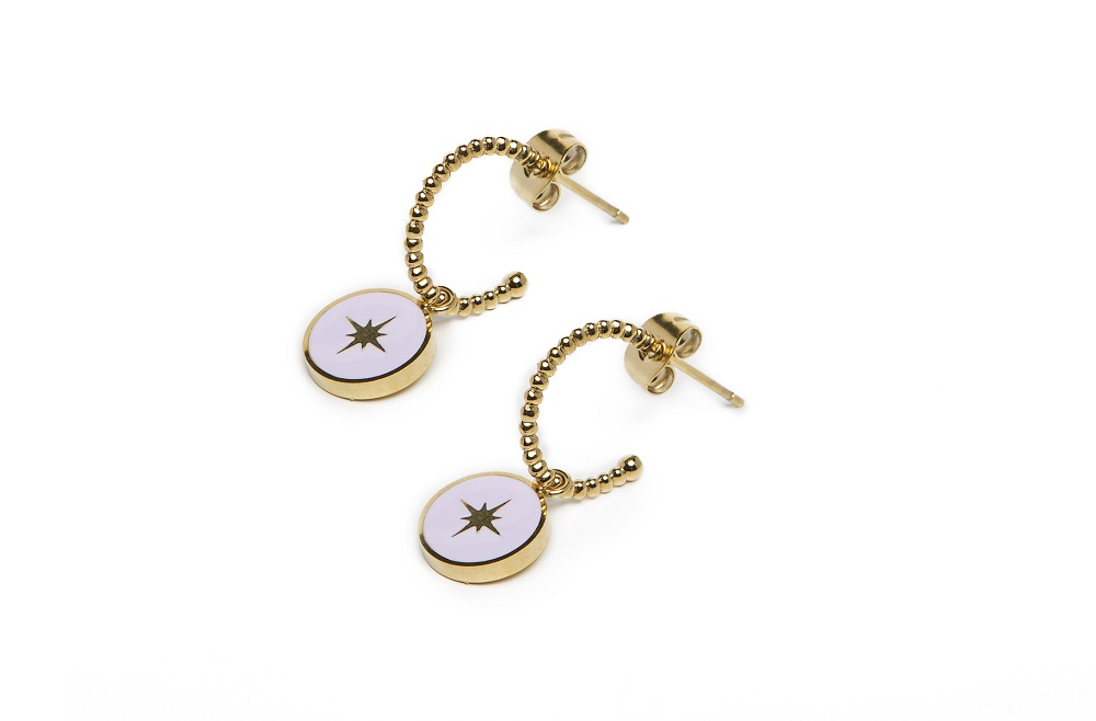 The Earrings Star Color Gold Out & Light Grey | Silis Charm Earrings
