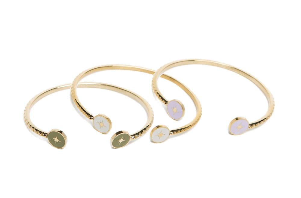 The Esclave Star Gold Out & White | Silis Clamp Cuff Bracelet