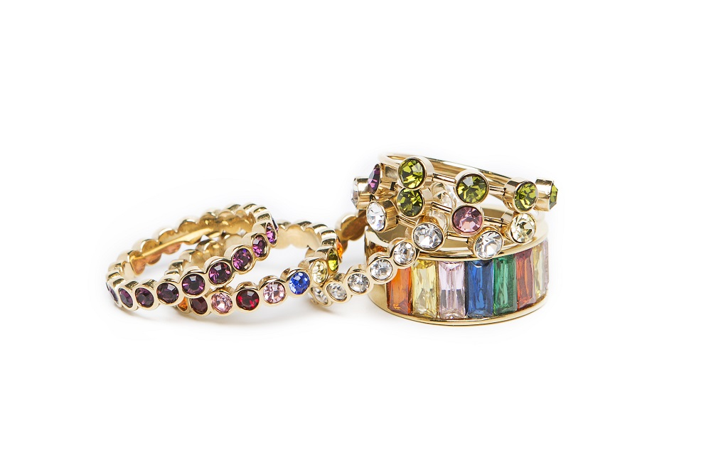 The Ring Baguette Gold & Rainbow Colors | Silis Multi-Stone Ring