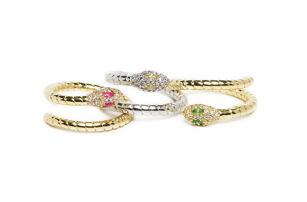 The Ring Snake Gold Out & Fuchsia Crystal | Silis Statement Ring