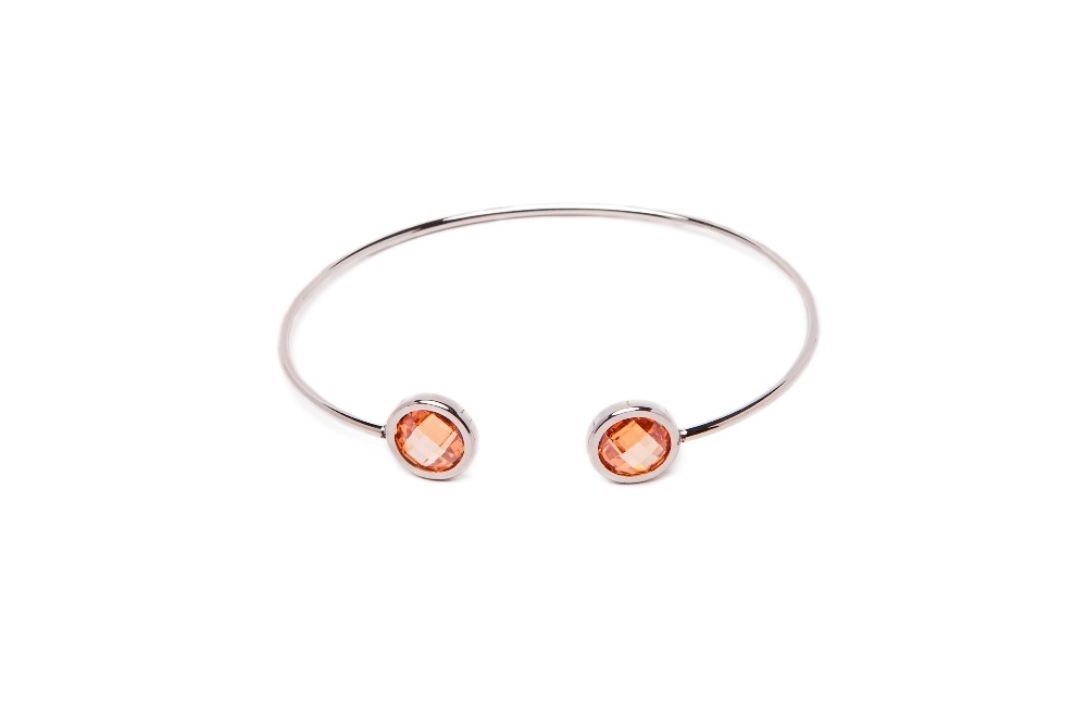 The Esclave Color Silver & Orange | Silis Clamp Cuff Bracelet