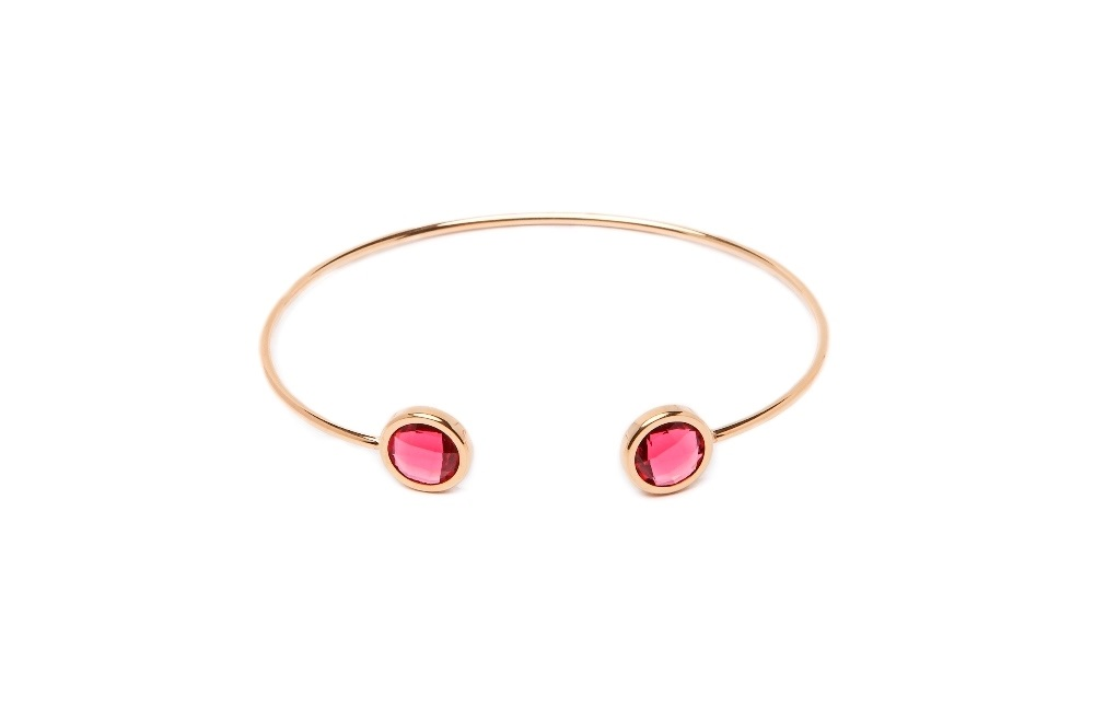 The Esclave Color Gold & Fuchsia | Silis Clamp Cuff Bracelet